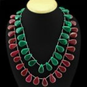 Jewelry - EARTH MINED 2 TIER RUBY & GREEN EMERALD BEADS NECK